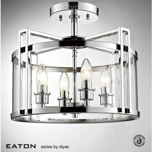 Eaton Semi Ceiling 4 Light Polished Chrome/Glass