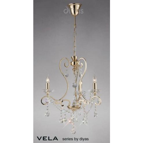 Vela Pendant 3 Light French Gold/Crystal