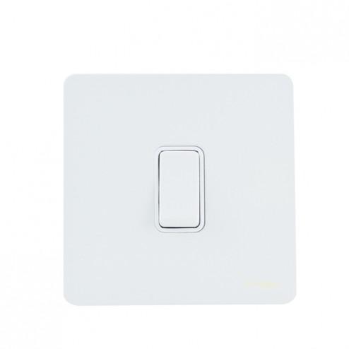 GU2410WPW SCHNEIDER ULTIMATE SCREWLESS 20AX DP SWITCH WHITE METAL / WHITE INSERT