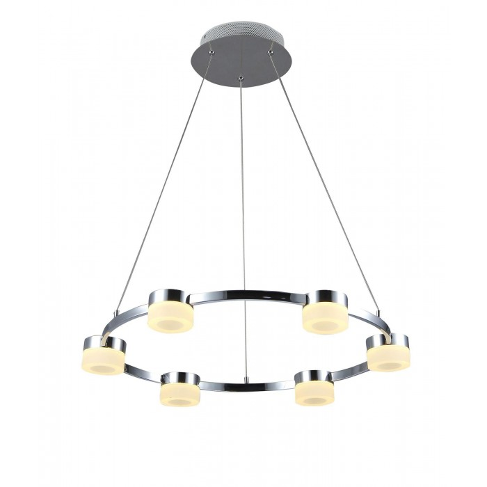 Culina rhea rhea led 6 light acrylic ring diner fitting dimmable chrome frosted acrylic