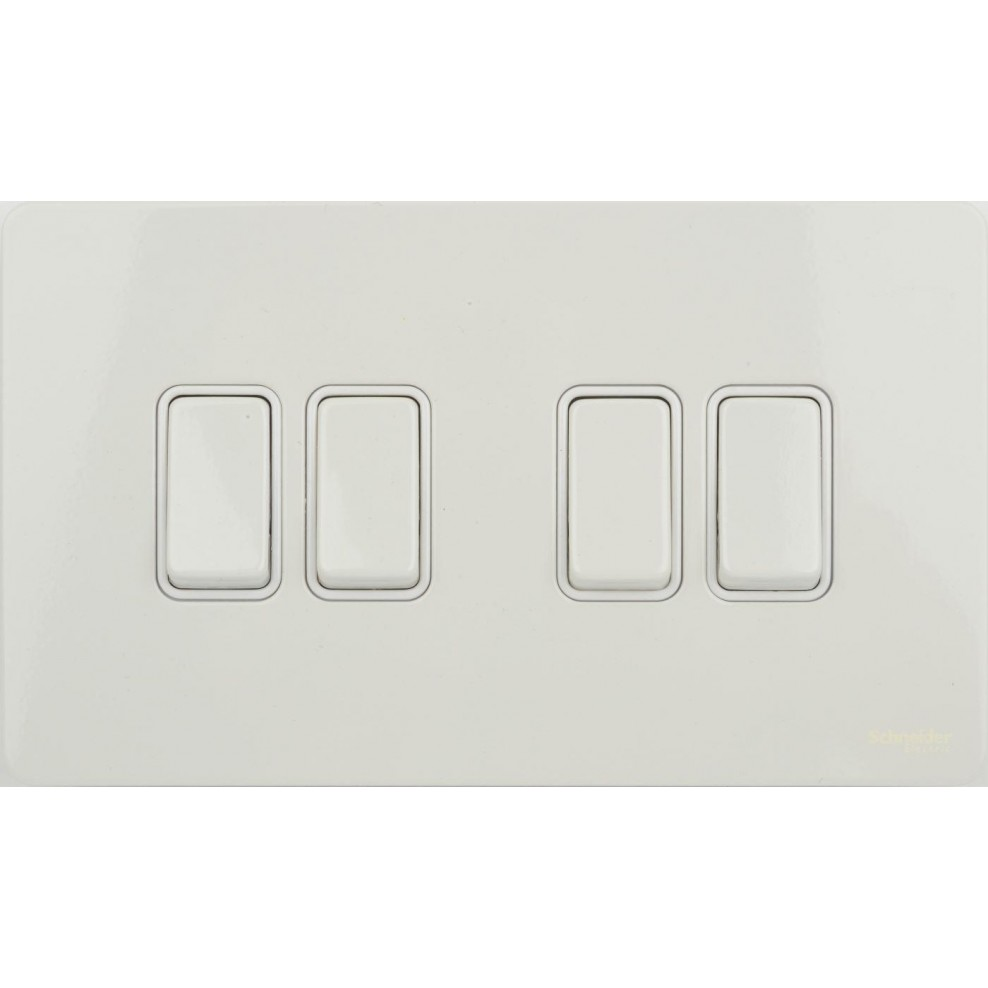 Gu1442wpw Schneider Ultimate Screwless 4 Gang 2 Way 16ax Plate Light Switch White Metal Insert