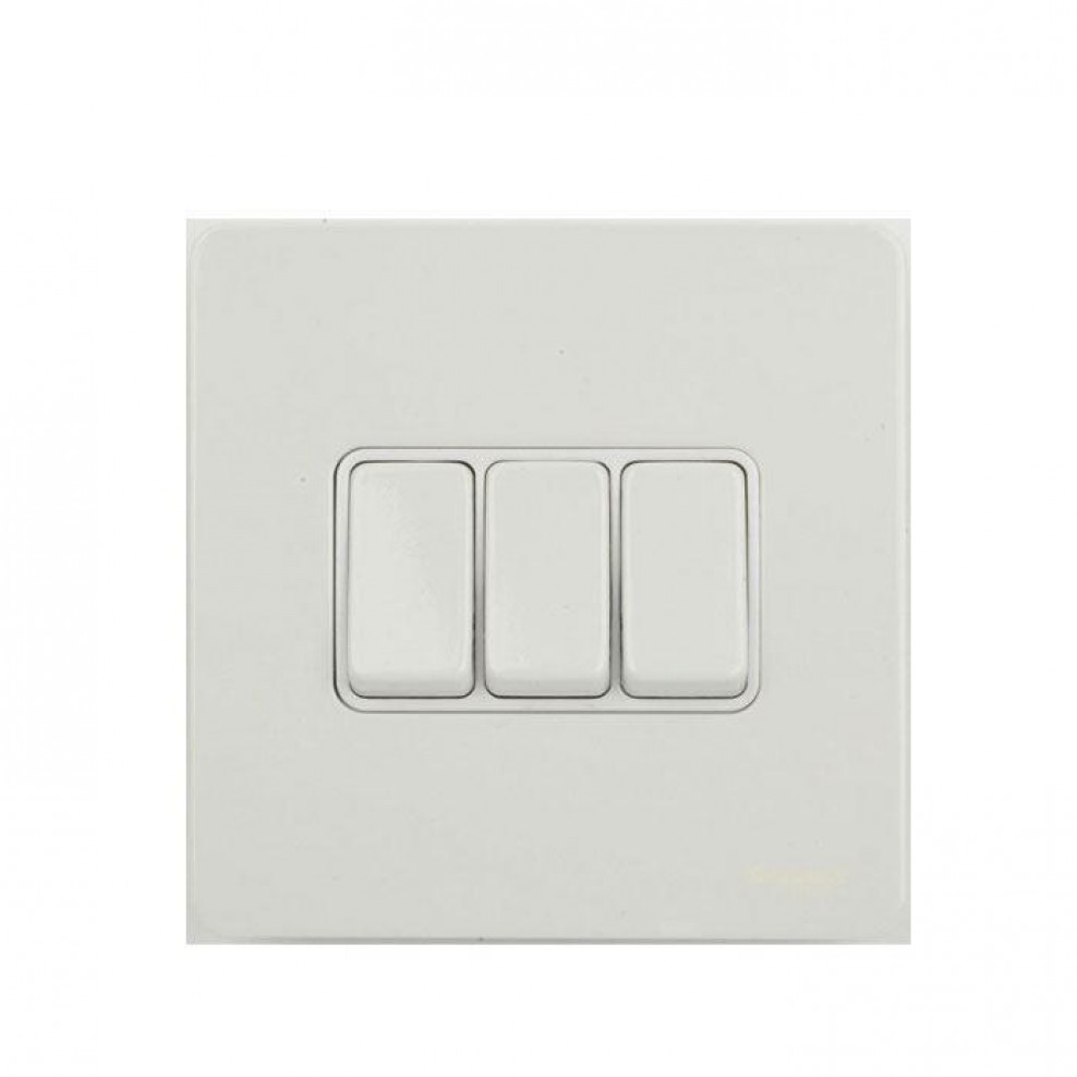 Gu1432wpw Schneider Ultimate Screwless 3 Gang 2 Way 16ax Plate Switch Electrical White Metal Insert