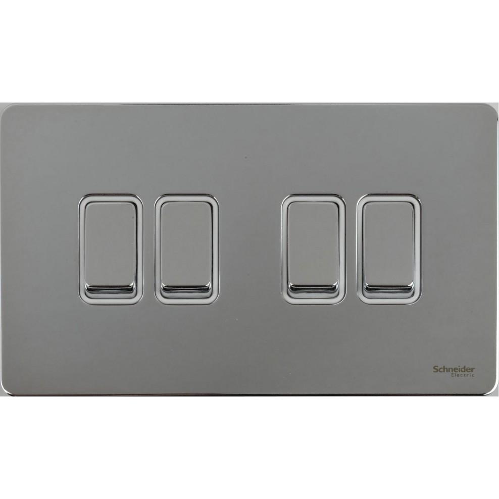 Gu1442wpc Schneider Ultimate Screwless 4 Gang 2 Way 16ax Plate Light Switch White Polished Chrome Insert