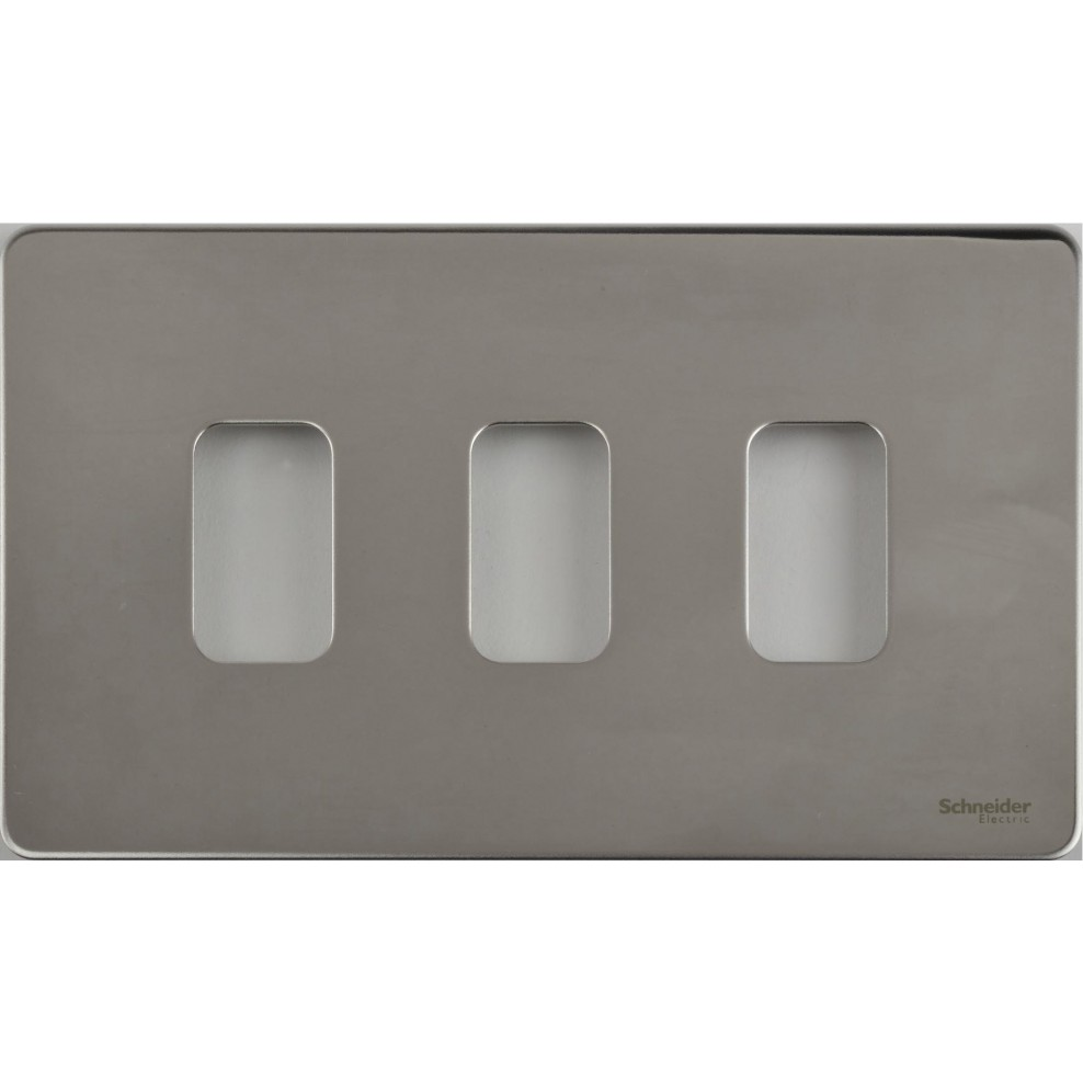 Schneider Ultimate Grid Screwless Cover Plate 3 Gang Cw Mounting