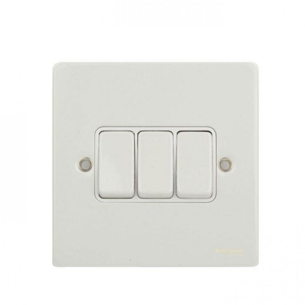 Gu1232wpw Schneider Ultimate Flat Plate 3 Gang 2 Way Switch White Electrical Metal Insert