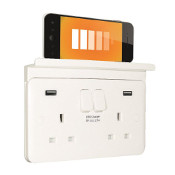 SCHNEIDER LISSE WHITE MOULDED 2 GANG 13A SWITCHED USB SOCKET OUTLET